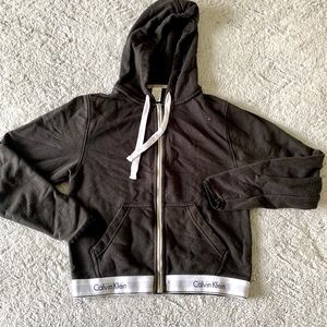 Calvin Klein Cropped Zip Up Hoodie Size Small